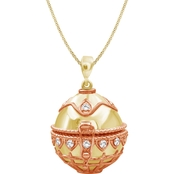 She Shines Sterling Silver and 14K Gold Plated 1/4 CTW Diamond Flower Egg Pendant