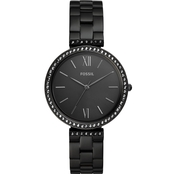 Fossil Madeline Three Hand Black Stainless Steel Watch ES4540