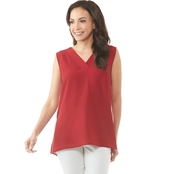 Passports V Neck Woven Pleated Tunic