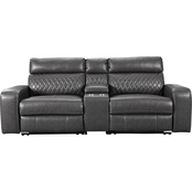 Signature Design by Ashley Samperstone 3 pc. Set with 2 Power Recliners and Console