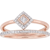 Diamore 10K Rose Gold 1/3 CTW Princess and Round Cut Diamond Petite Bridal Set