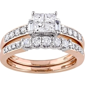 Diamore 14K Rose Gold 1 CTW Princess Cut Diamond Quad Bridal Set