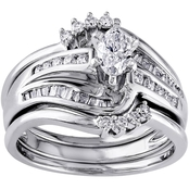 Diamore 14K White Gold 3/4 CTW Marquise and Baguette Cut Diamond Bridal Set