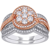 Diamore 14K White and Rose Gold 1 CTW Diamond Cluster Floral Bridal Set