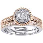 Diamore 10K Two Tone White and Rose Gold 5/8 CTW Diamond Halo Milgrain Bridal Set