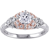 Diamore 14K Two Tone White and Rose Gold 1 CTW Diamond Vintage Engagement Ring