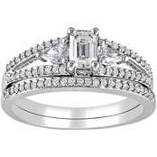 Diamore 1 CTW Emerald and Pear Cut Diamond Bridal Set in 14K White Gold