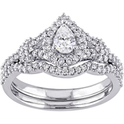Diamore 14K White Gold 7/8 CTW Pear Cut Diamond Halo Bridal Set