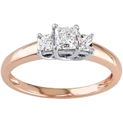 Diamore 1 CTW Princess Cut Diamond 3 Stone Engagement Ring in 14K Rose Gold