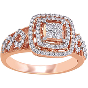 Diamore 1/2 CTW Diamond Cluster Halo Engagement Ring in 14K Rose Gold