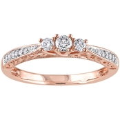 Diamore 10K Rose Gold 1/4 CTW Diamond 3 Stone Engagement Ring
