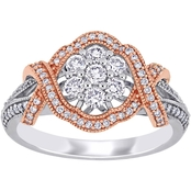 Sofia B. 10K Two Tone Gold 5/8 CTW Diamond Floral Twist Engagement Ring