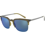 Armani Exchange Phantos Transparent Olive / Mirror Blue Sunglasses 0AX4081S827055