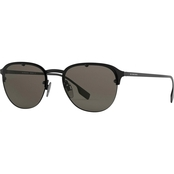 Burberry Pilot Sunglasses, Black Rubber / Brown