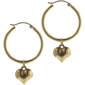 14K Yellow Gold Dangle Heart Hoop Earrings