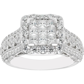 10K White Gold 1 3/4 CTW Diamond Engagement Ring
