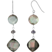 Sterling Silver  Black Freshwater Mother of Pearl Dangle Earring