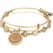 ALEX AND ANI Lotus Wood Charm Set of 2 Bangle