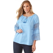 Passports Lace Peasant Top