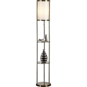 Artiva USA Exeter Floor Lamp with Glass Shelf, Antique Brass