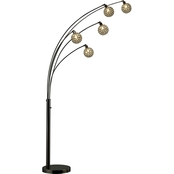 Artiva USA Manhattan LED Arch Floor Lamp, Jet Gun Metal/Black Pearl