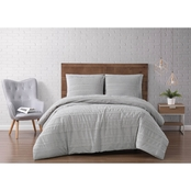 Brooklyn Loom Carlisle Stripe Grey Comforter, 3 pc. Set