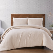 Brooklyn Loom Solid Woven Matelasse Natural Duvet Cover, 3 pc. Set