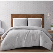 Brooklyn Loom Solid Woven Matelasse Full/Queen Comforter, 3 pc. Set.