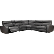 Signature Design by Ashley Samperstone 6 pc. Sectional with 3 Recliners and Console