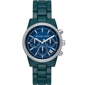 Teal Stainless Steel Chronograph Ritz Watch
