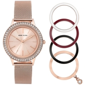Anne Klein Women's Rose Goldtone Mesh Bracelet Watch and Interchangeable Bezel Set