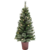 4FT Pre-Lit Christmas Tree with Red Pot