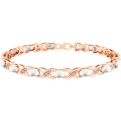 Sterling Silver 10K Rose Gold Plate Diamond Accent with Pearl Bracelet