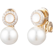 Anne Klein Goldtone Faux Pearl Crystal Double Drop EZ Comfort Clip Earrings