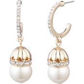 Anne Klein Goldtone Faux Pearl Crystal Drop Earrings