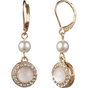 Anne Klein Goldtone Faux Pearl Crystal Double Drop Leverback Earrings