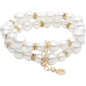 Anne Klein Goldtone Faux Pearl Crystal Two Row Stretch Bracelet