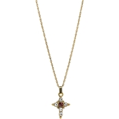 Symbol of Faith 14K Gold Red Crystal Accent Cross Necklace 16 in.