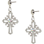 Symbols of Faith Silver Tone Crystal Cross Drop Earrings