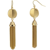 Carol Dauplaise Goldtone Metal Disc Tassel Earrings