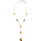 Carol Dauplaise Goldtone Natural Stone Metal Disc Y-Necklace
