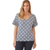 Passports Extended Flutter Sleeve V Neck Top
