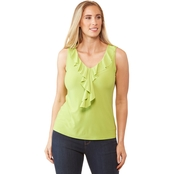 Passports Ruffle V Neck Solid Ity Top