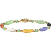 PalmBeach 14K Yellow Gold Multicolored Jade Barrel and Beaded Shapes Bracelet
