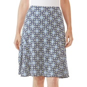 Passports Side Godet Pendant Motif Textured Print Skirt