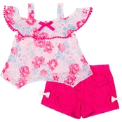 Little Lass Toddler Girls Pom Pom Ruffle Top and Shorts 2 pc. Set