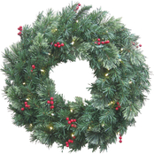 Everstar 24 in. Decorated Cordless, Pre-Lit Artificial Wreath