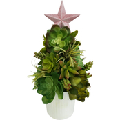 Everstar 12 in. Succulent Cone Table Piece with Metal Bucket