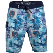Salt Life Admirals Club Performance Aqua Trunk Board Shorts