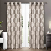 Exclusive Home Akola Medallion Grommet Top Window Curtain Panel 54 x 108 in. 2 pk.